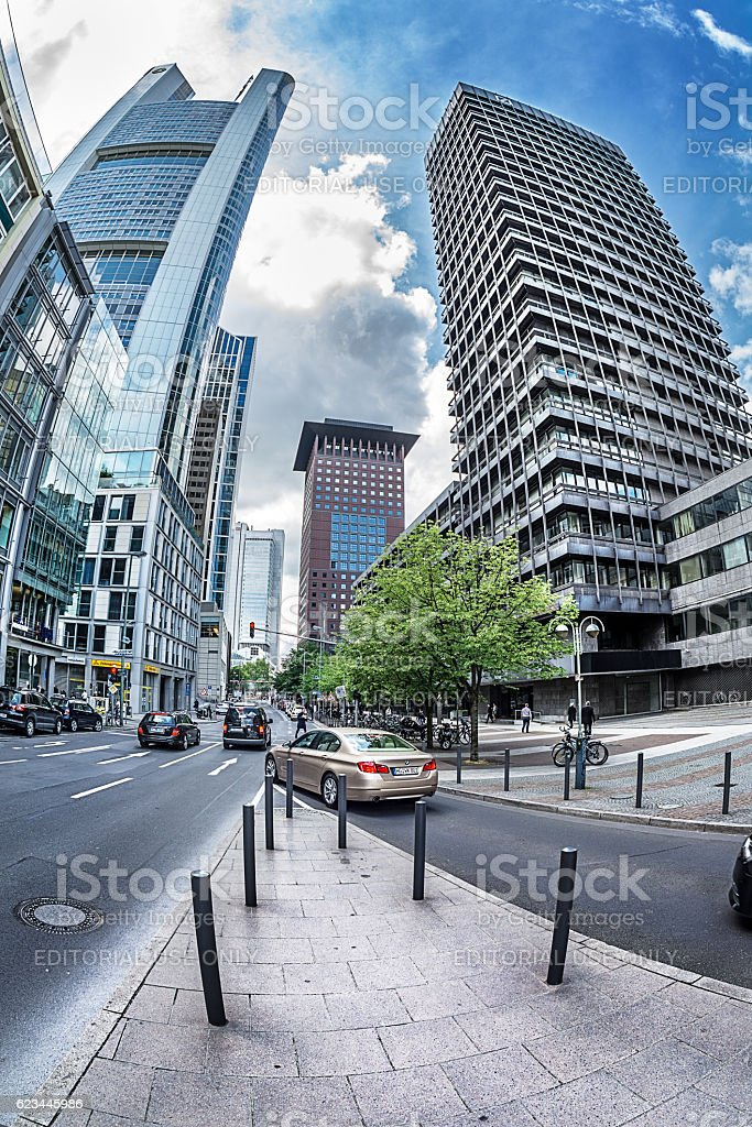 futuristic view of the Grosse Gallusstrasse  street. stock photo
