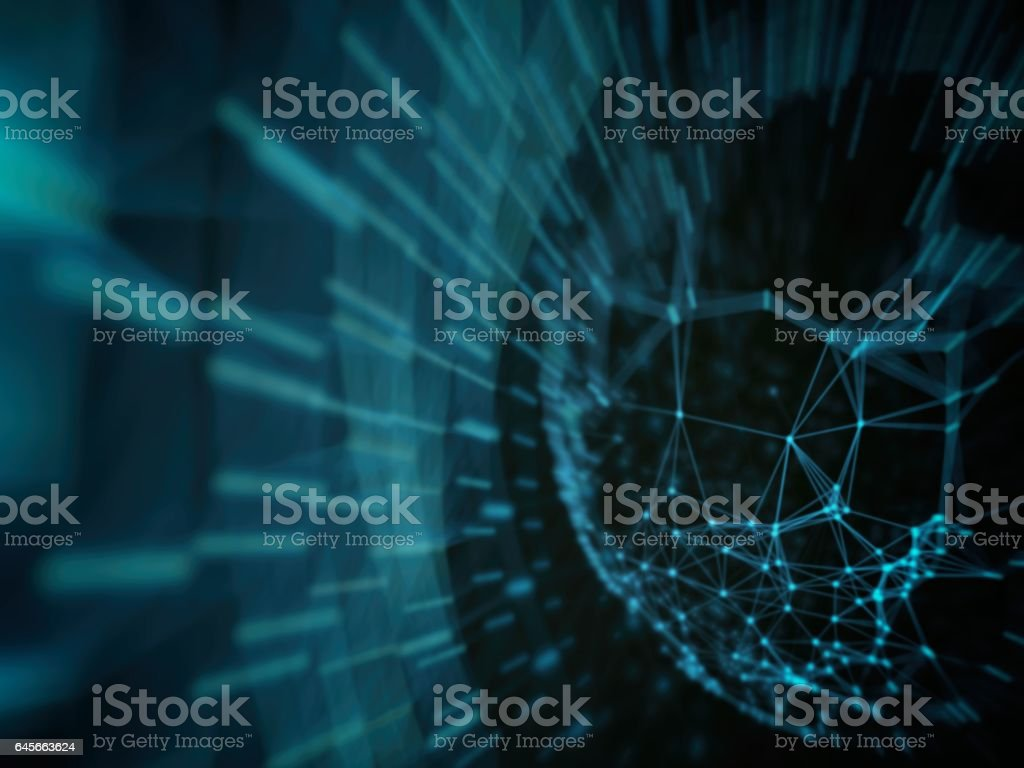 Futuristic virtual technology background, Fiber virtual optic cables, fibre connection, telecomunications concept, digitally generated image. stock photo