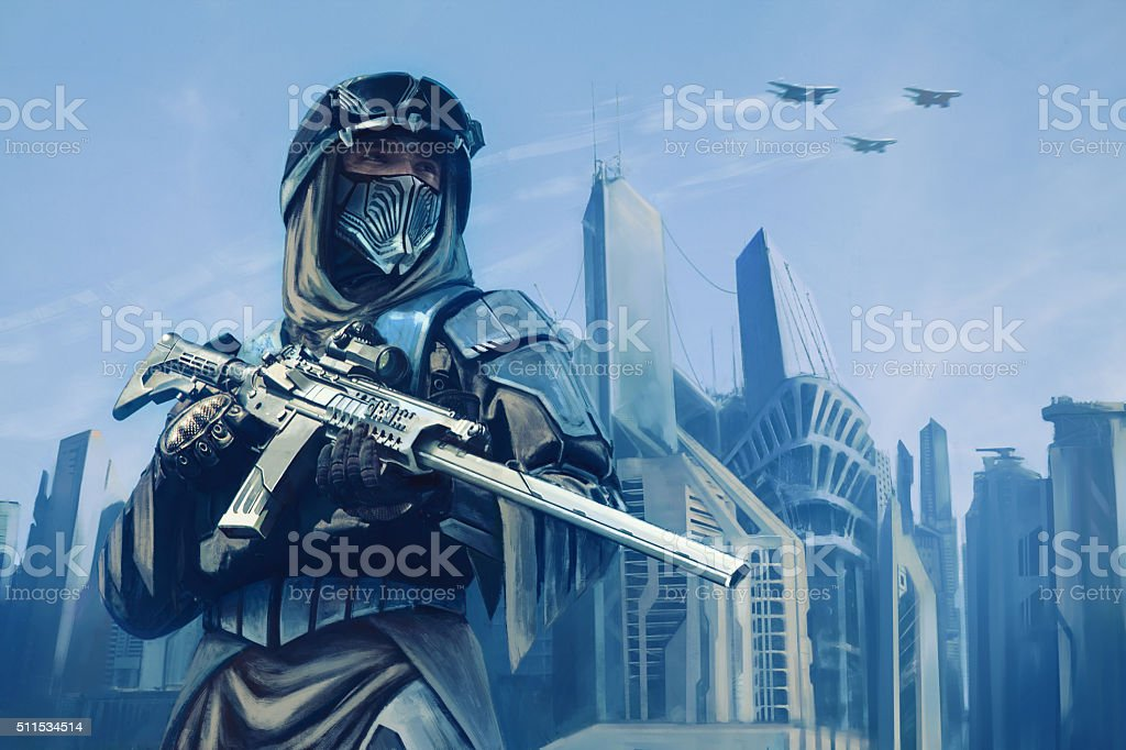 Futuristic warrior with weapons stock photo