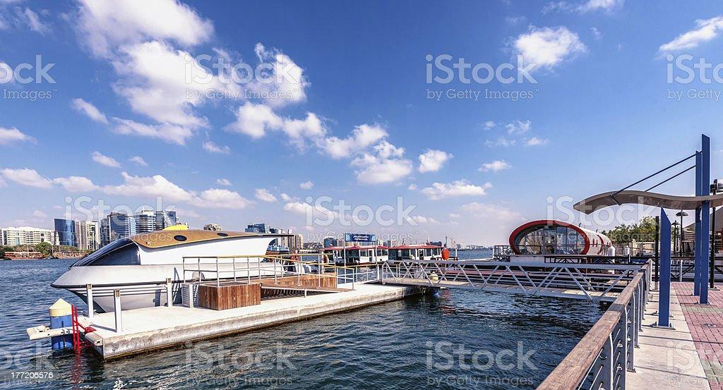 Futuristic Water Taxi Station in Dubai stock photo