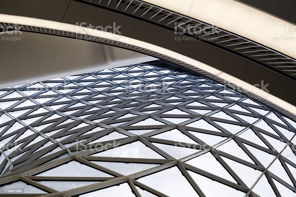 Futuristic window glass roof construction royalty-free stock photo