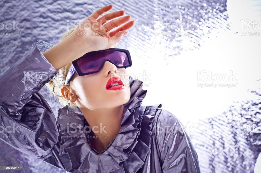 Futuristic woman looking away royalty-free stock photo