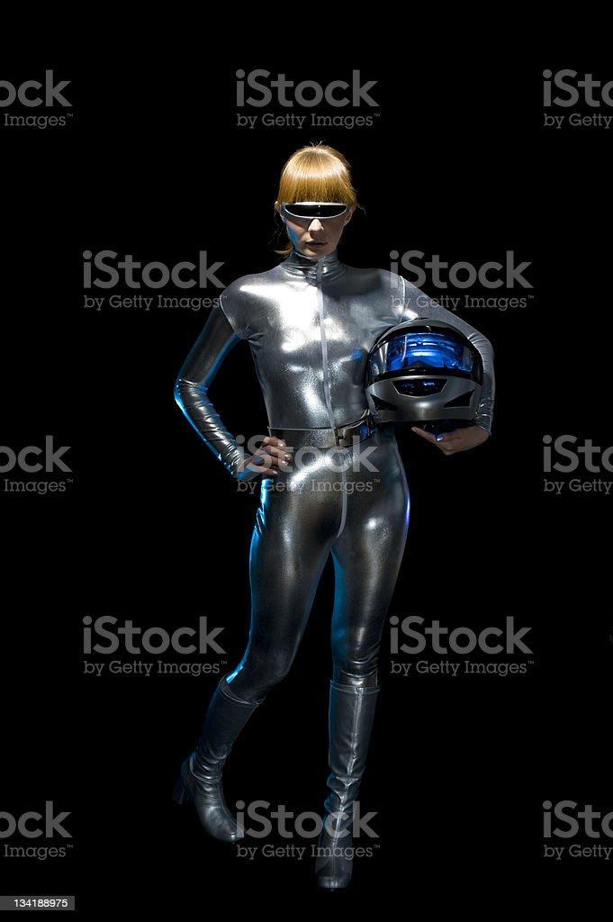 Futuristic woman Motorcyle Racer stock photo