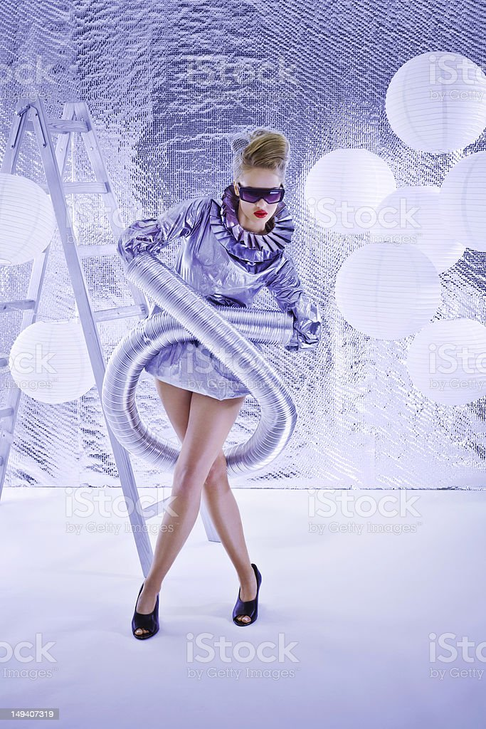 Futuristic woman stock photo