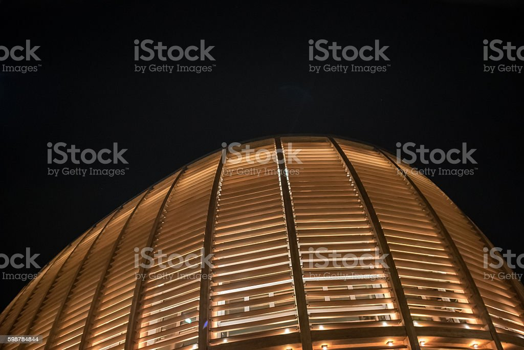 Futuristic Woody building by night stock photo