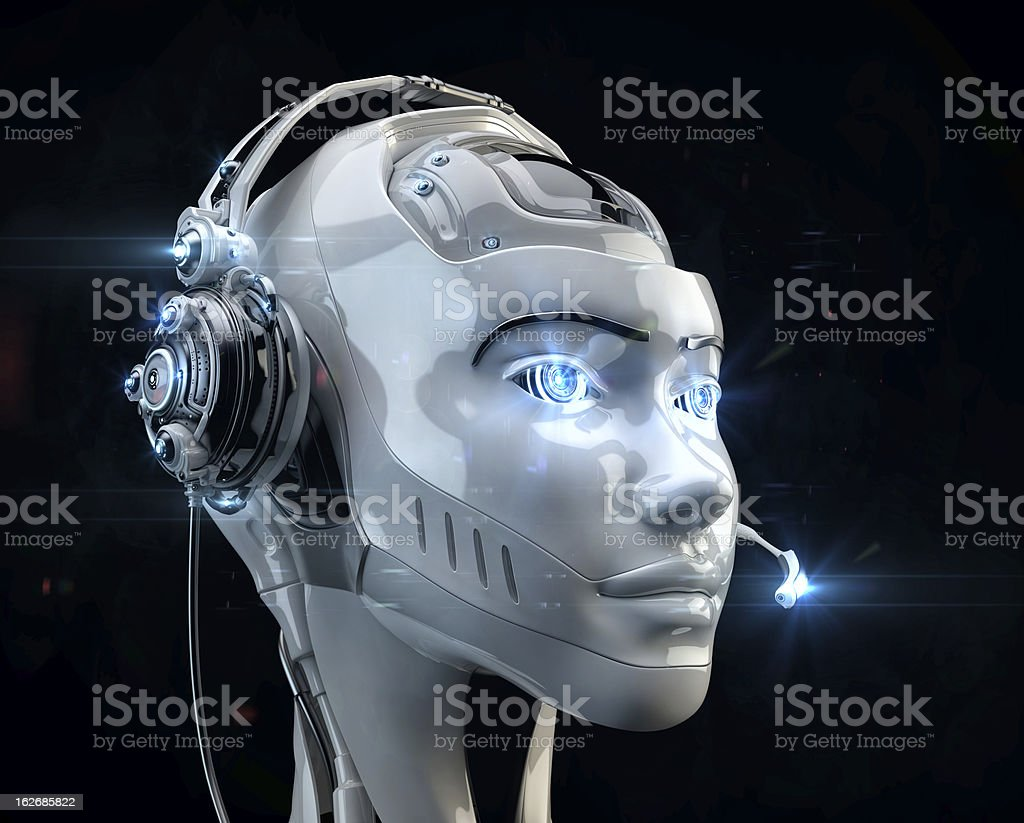 Futuristic worker of call-center royalty-free stock photo