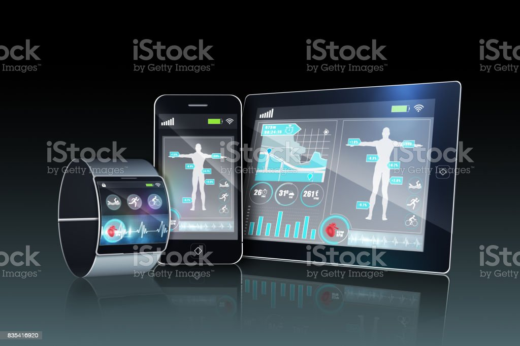 Futuristic wrist watch with tablet and smartphone stock photo