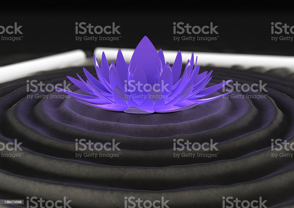 Futuristic zen garden stock photo