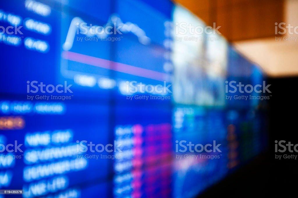 Fuzzy exchange rate display stock photo