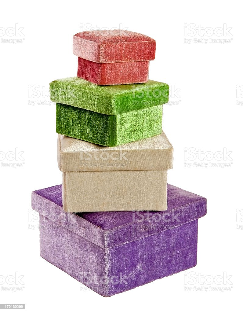 fuzzy nested gift boxes stacked royalty-free stock photo