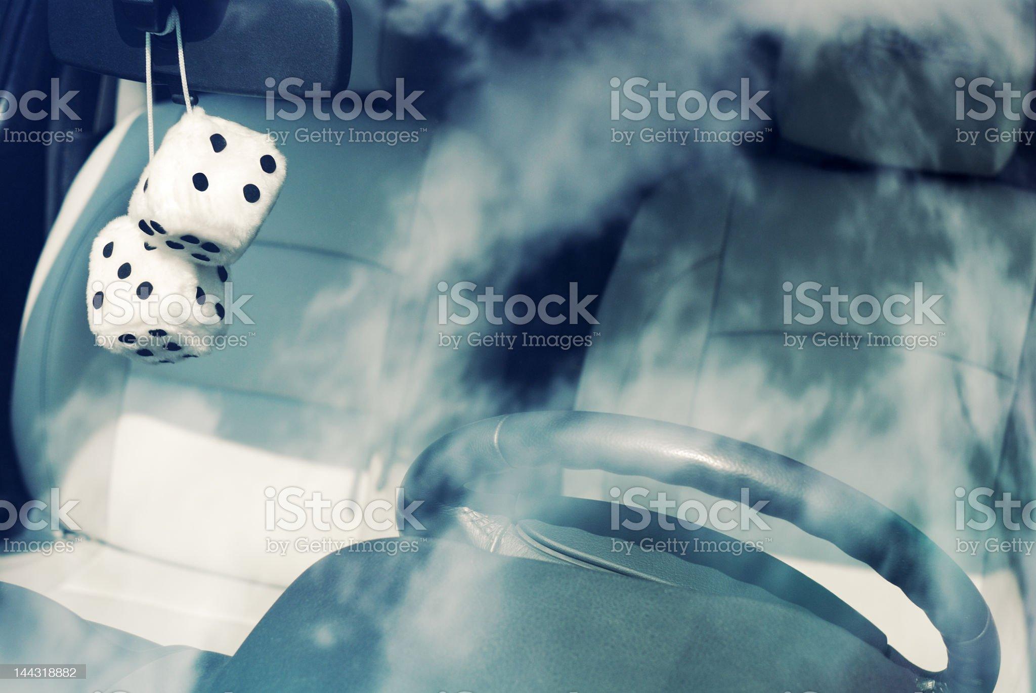 Fuzzy white dice royalty-free stock photo