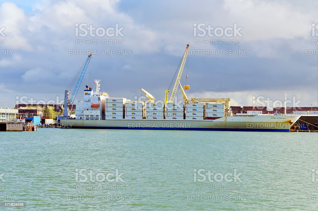 Fyffes ship at Portsmouth stock photo