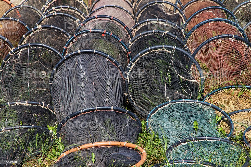 Fyke nets stock photo