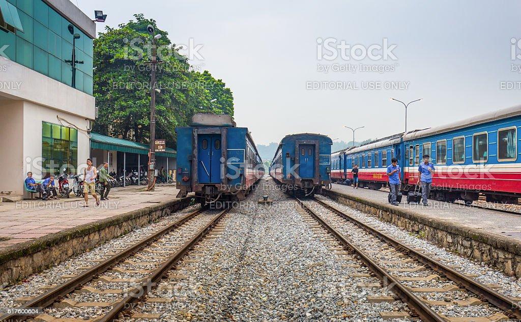 Ga Lao Cai railway station in Vietnam stock photo