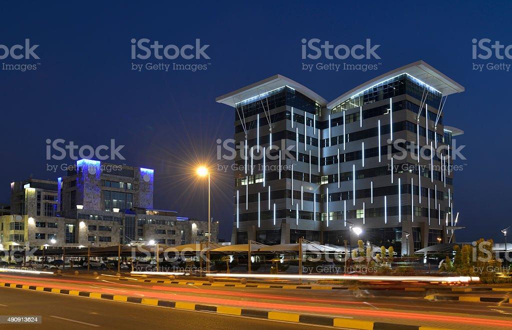 Gabarone skyline at night, Botswana Africa stock photo