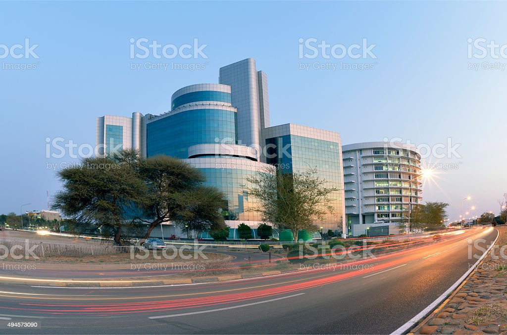 Gabarone skyline building at night. Botswana Africa. stock photo