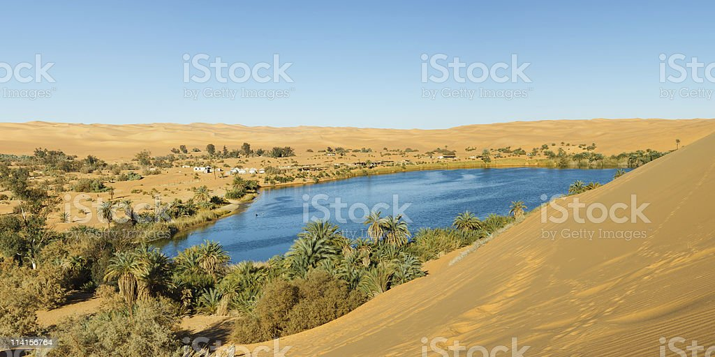 Gaberoun Lake - Desert Oasis, Sahara, Libya stock photo