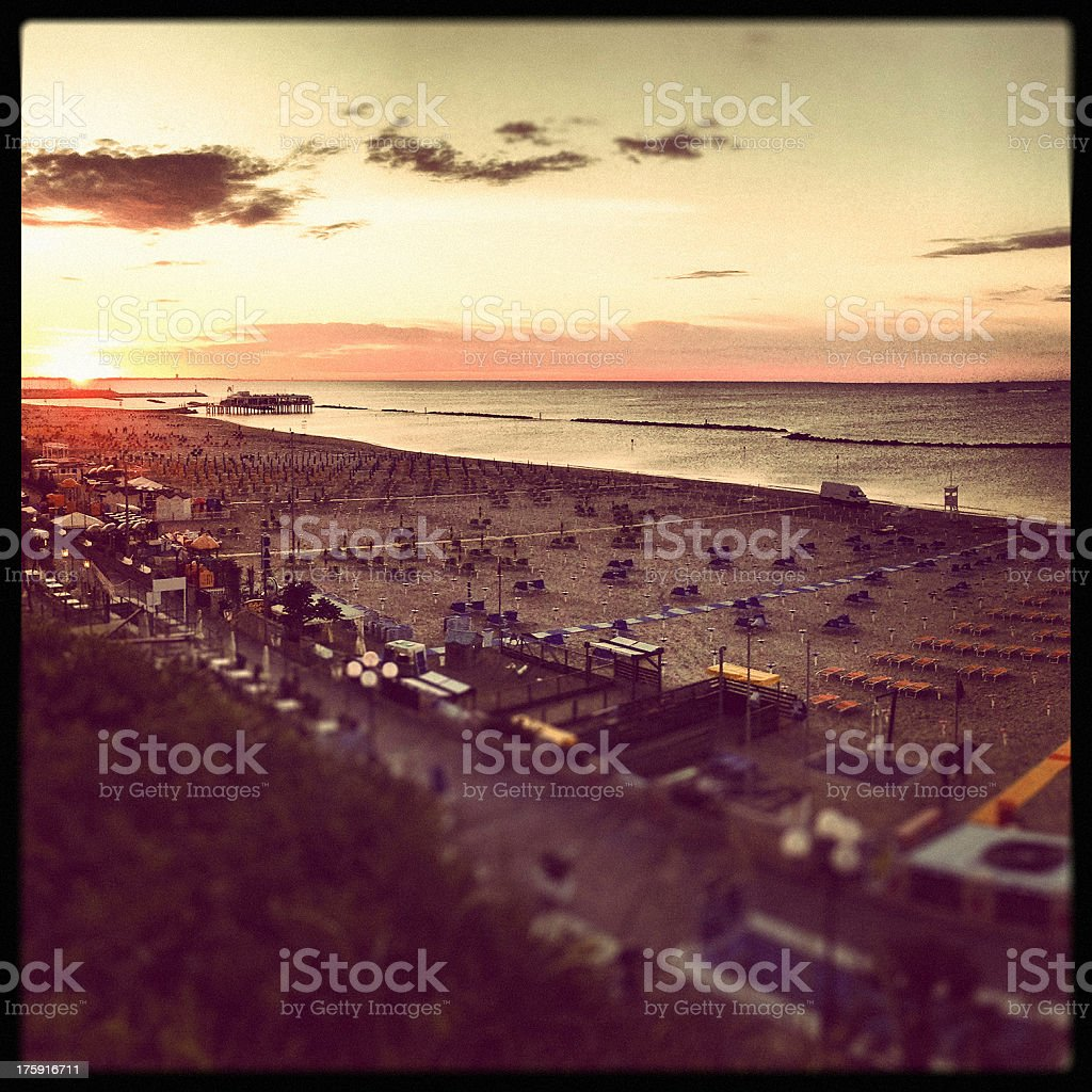 Gabicce mare seaside at sunset royalty-free stock photo