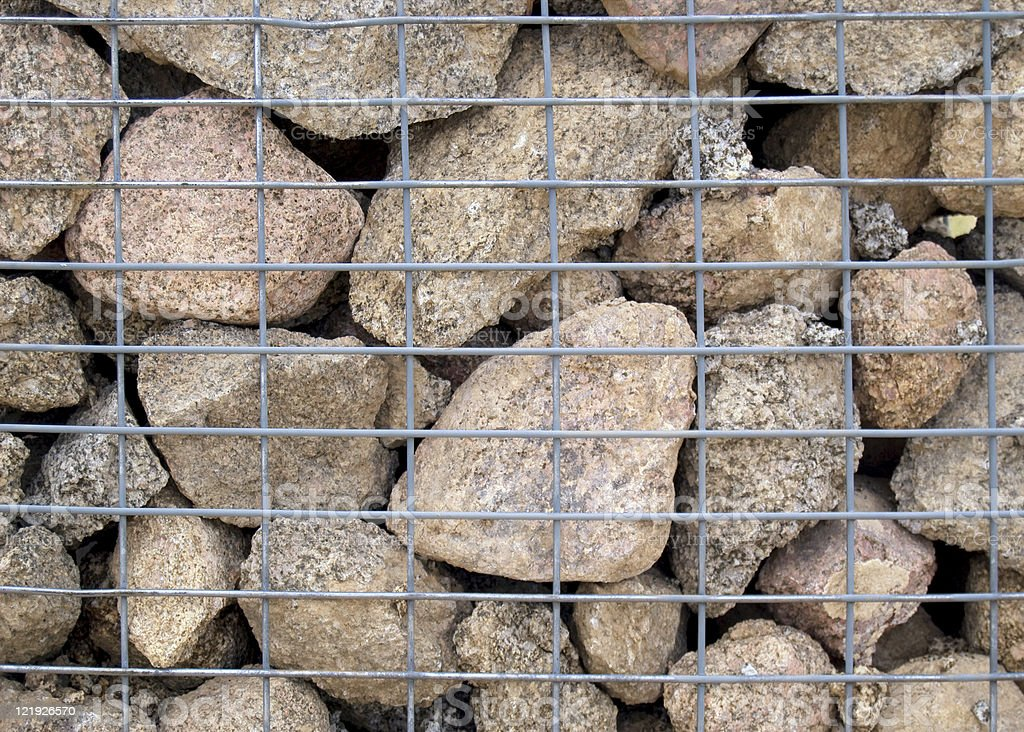 Gabion Erosion and Flood Wall stock photo