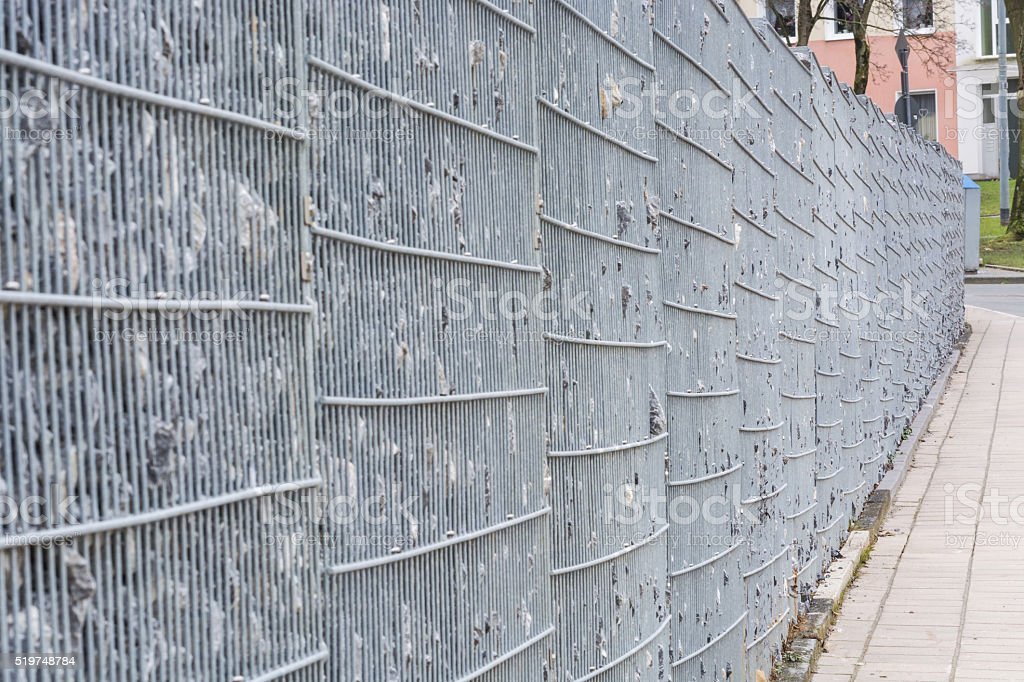 Gabion, metal basket filled with thick stones. stock photo