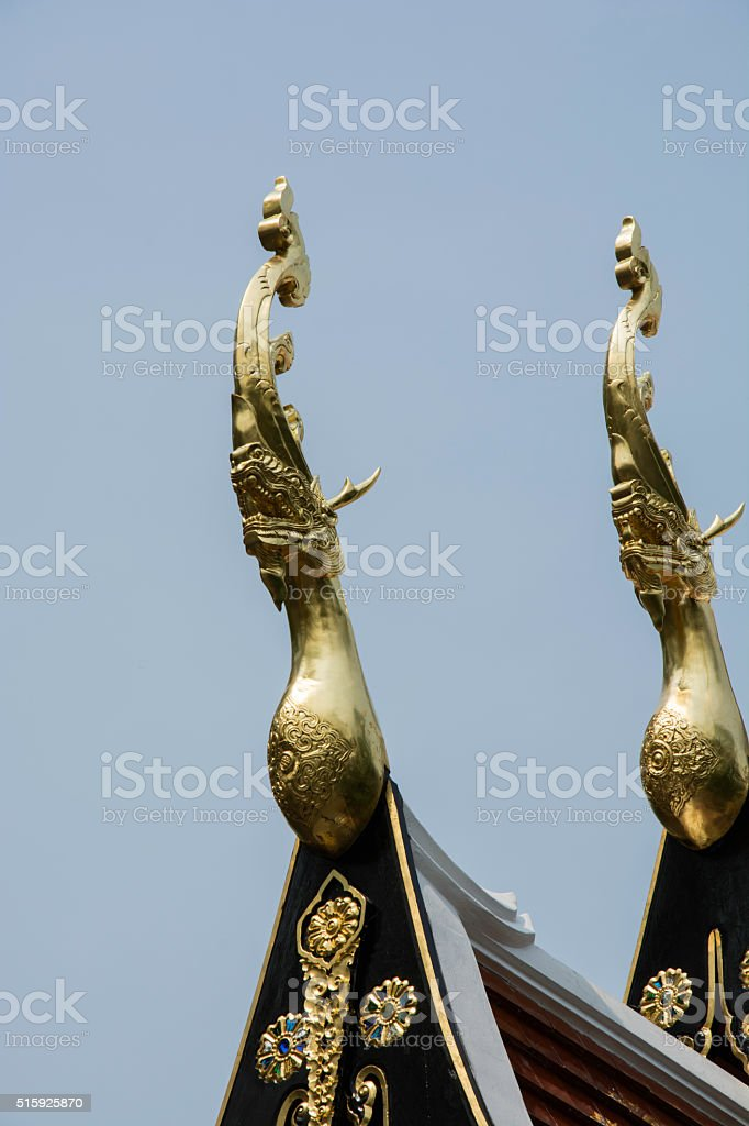 Gable apex on the roof of temple in Thailand royalty-free stock photo