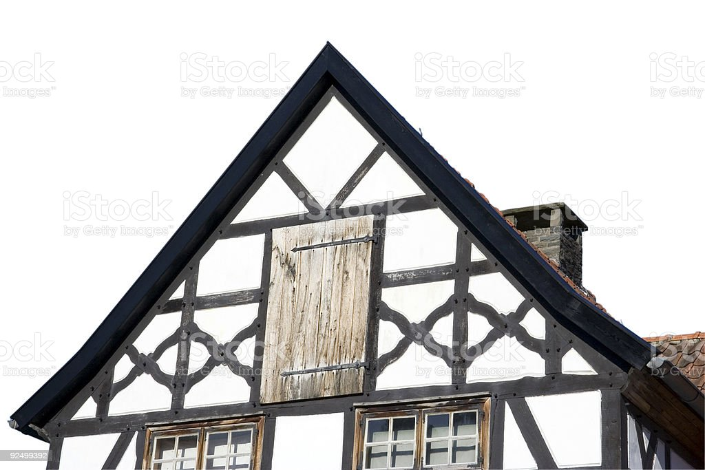 gable of a half-timbered house in black and white stock photo