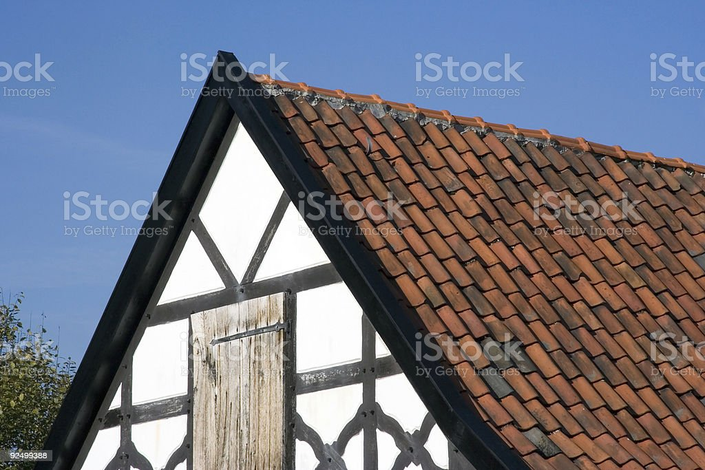 gable of a half-timbered house stock photo