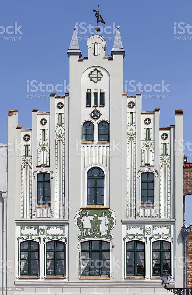 Gable of an old patrician house in Wismar stock photo