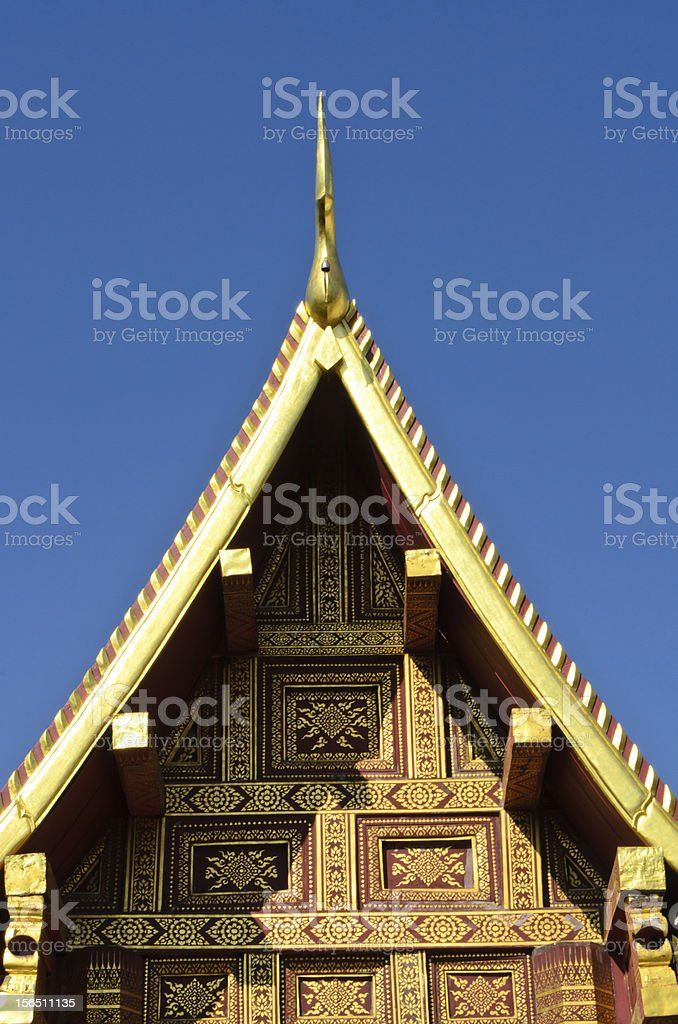 gable of buddhist temple in Thailand royalty-free stock photo