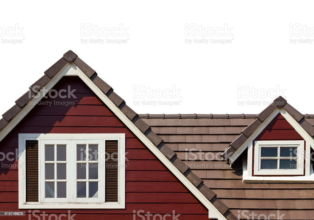 gable of the house isolated on white background stock photo