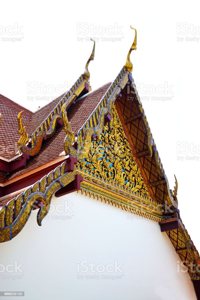 Gable roof of Thai temple isolated stock photo