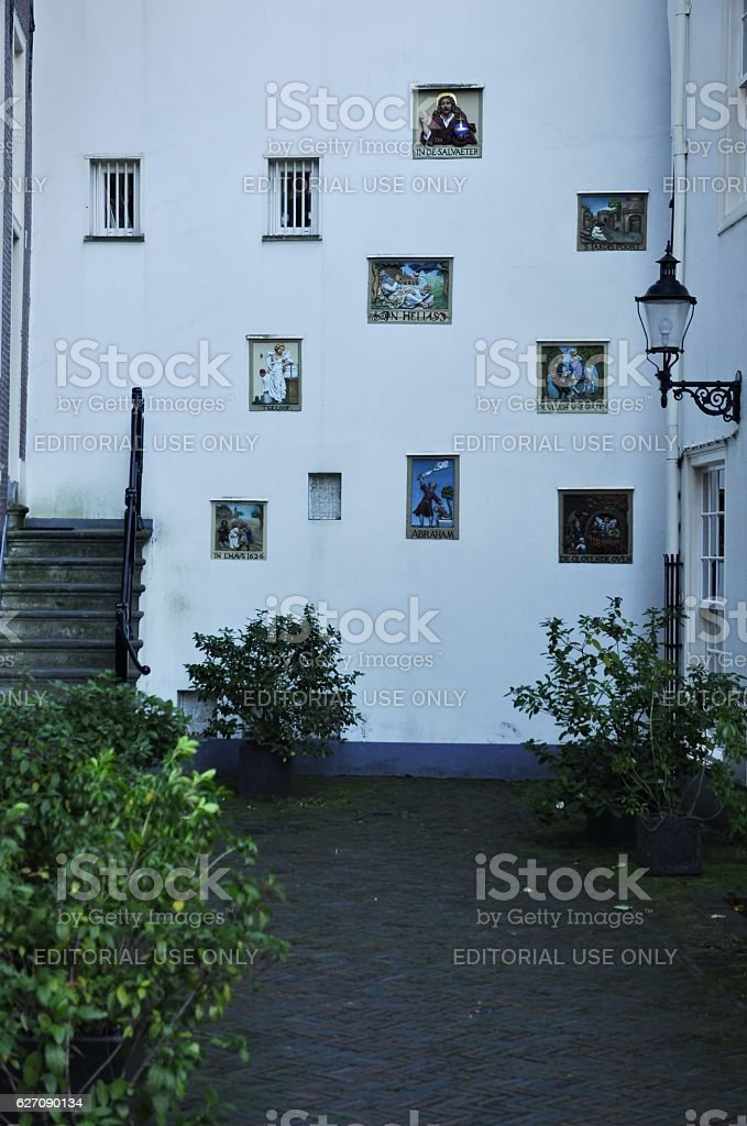Gable stones on the wall stock photo