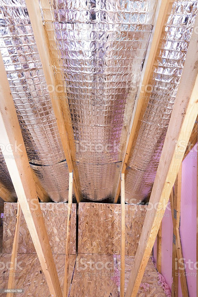 Gable view of attic heat insulation stock photo