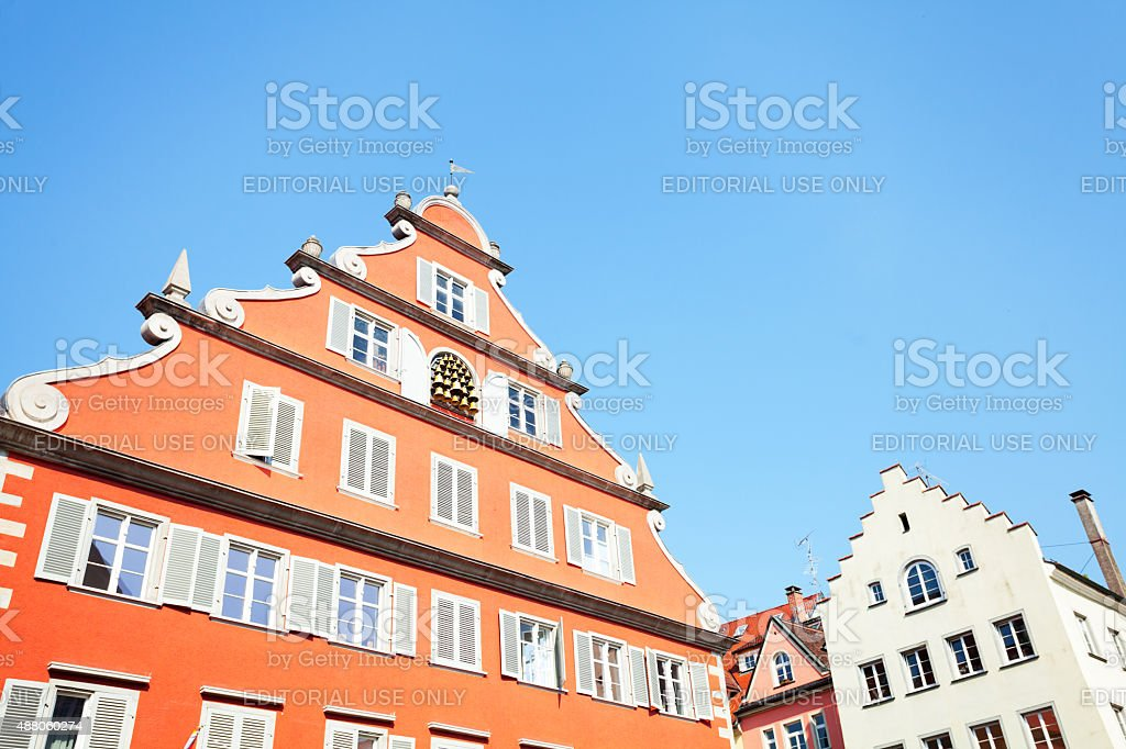 Gable with bells in Lindau stock photo