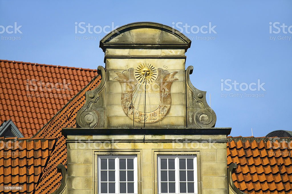 Gable with sun clock royalty-free stock photo