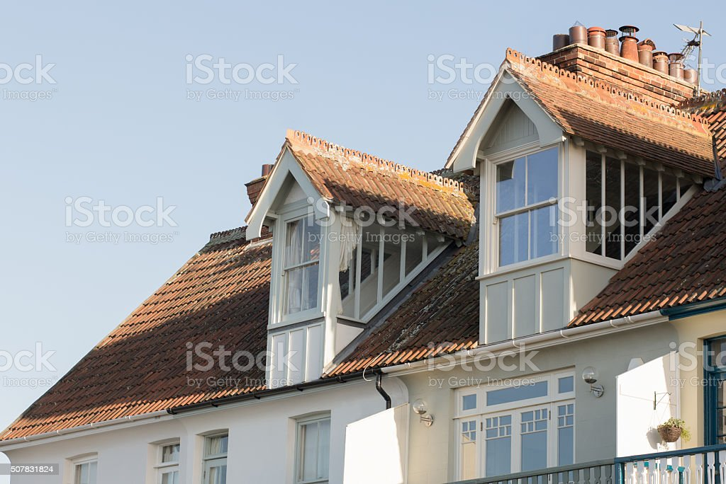 Gabled Dormer window architecture. stock photo