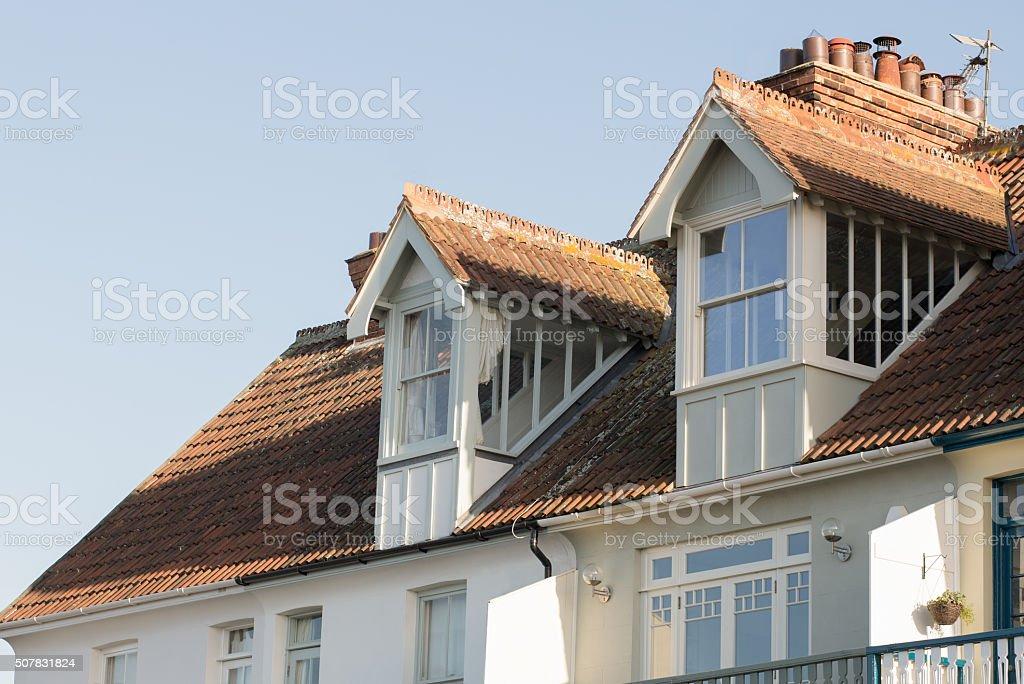 Gabled Dormer window architecture. stock photo