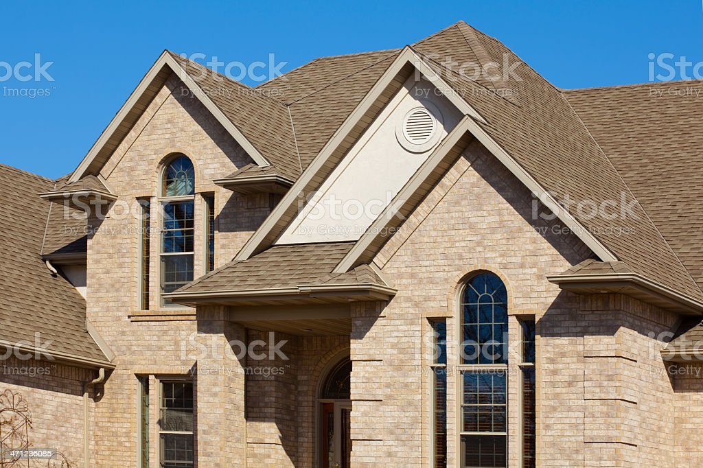 Gabled Roof Beige Brick Mansion House Exterior Architectural Design stock photo