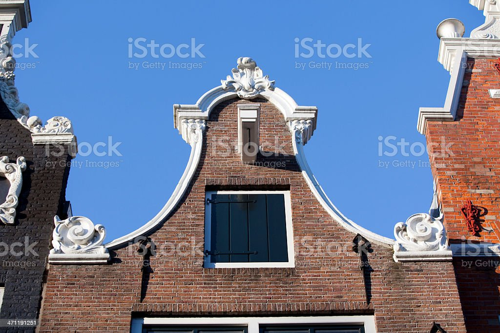 Gabled Rooftop on Amsterdam House stock photo