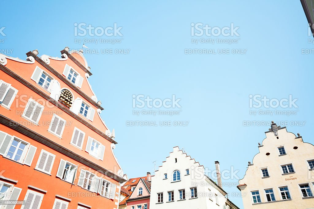 Gables and buildings in Lindau stock photo