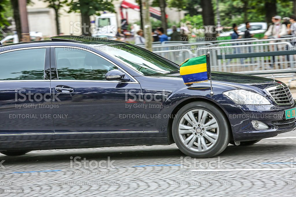 Gabon Diplomatic car during Military parade stock photo
