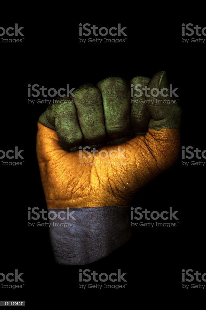 Gabon Flag Fist royalty-free stock photo