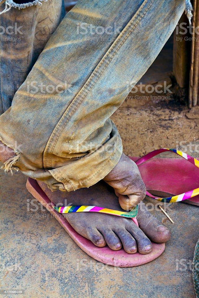 Gabon, Nyanga Province, Tchibanga, feet. stock photo