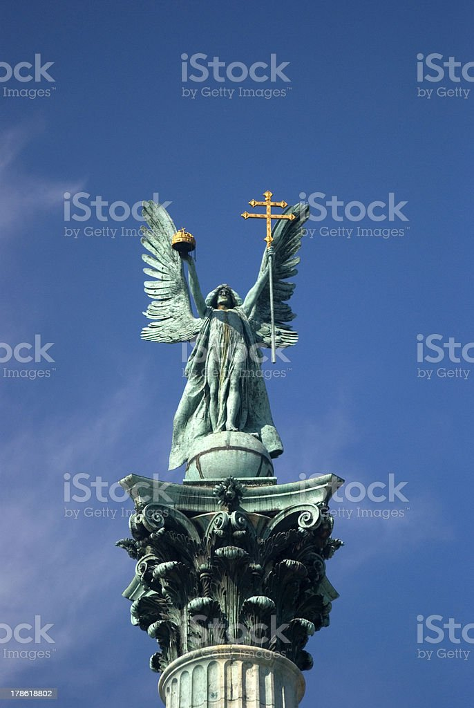 Gabriel Archangel on Heroes' Square, Budapest, Hungary royalty-free stock photo