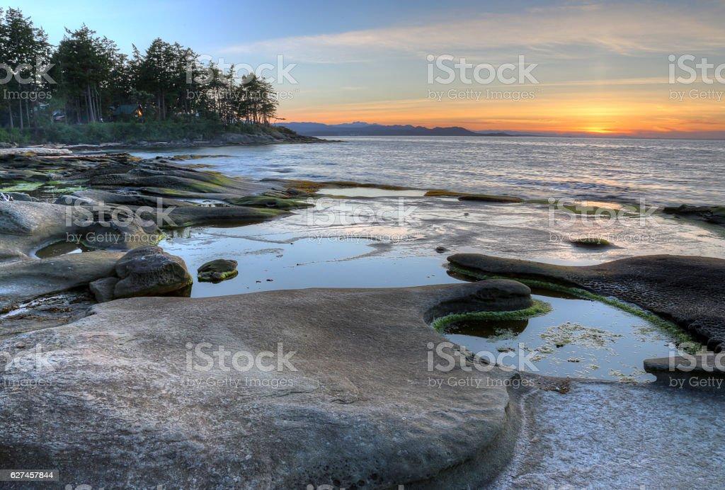 Gabriola Island Coast Sunset stock photo