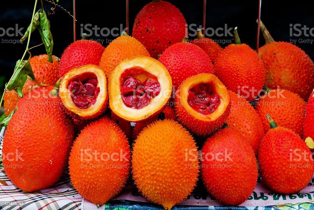 Gac fruit, Baby Jackfruit, Spiny Bitter Gourd, royalty-free stock photo