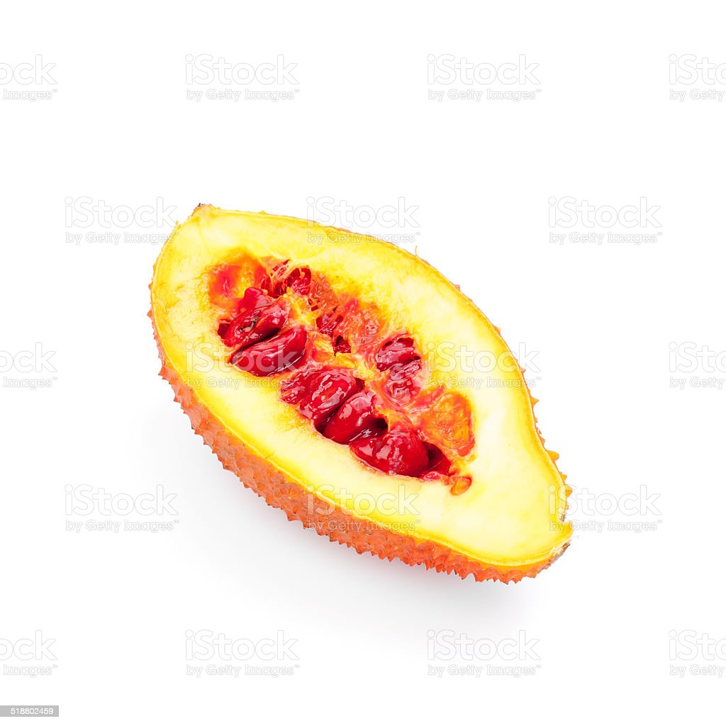 Gac fruit healthy fruit on white background. stock photo