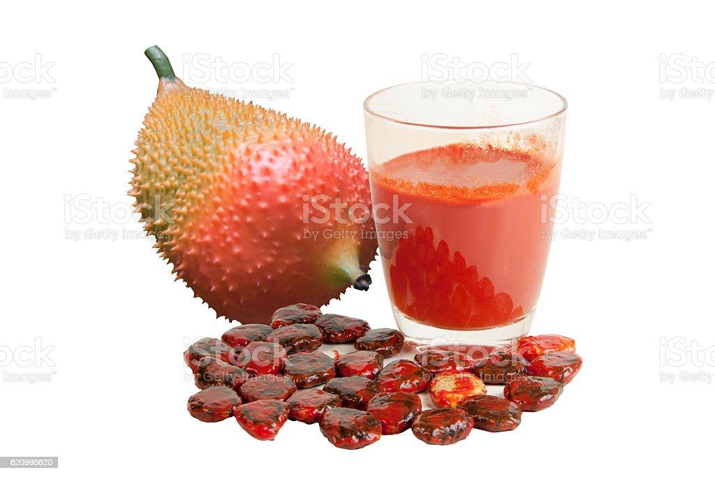 Gac fruit juice isolated stock photo