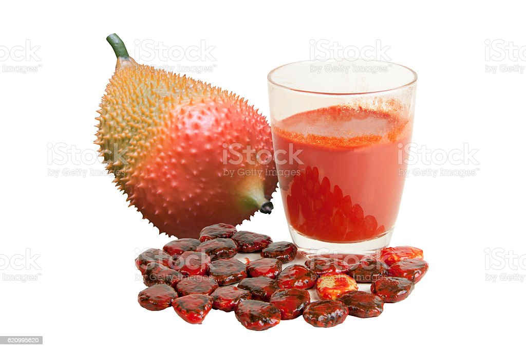 Gac fruit juice isolated stock photo