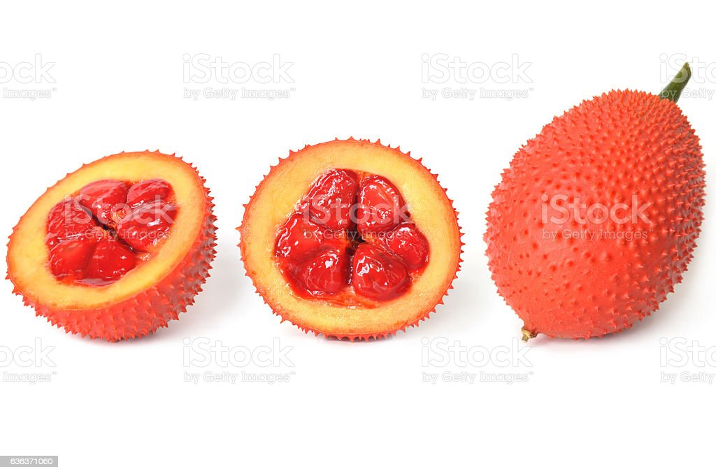 Gac fruit, Momordica cochinchinensis stock photo